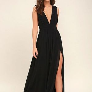 Lulu's Heavenly Hues Black Maxi Dress